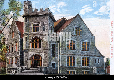 Fond du Lac (French for 'Bottom of the Lake'), Wisconsin, USA - The Public Library.     Date: 1906 - Stock Image