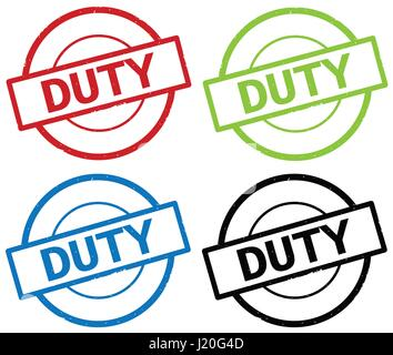 DUTY text, on round simple stamp sign, in color set. - Stock Image