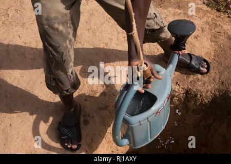 Samba village, Yako Province, Burkina Faso: Denis Zoundi, drawing water freom a well on his market garden to water his vegitable crops. - Stock Image