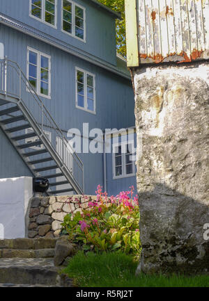 Small garden in the capital city Torshavn in the Faroes - Stock Image