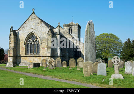 The tallest prehistoric standing stone in Britain, in the churchyard of All Saints Church, Rudston, East Yorkshire, England UK - Stock Image