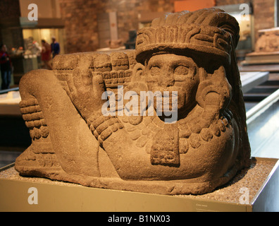 Chac Mool, Pre-Hispanic Mayan Art, National Museum of Anthropology, Chapultepec Park, Mexico City, Mexico. - Stock Image