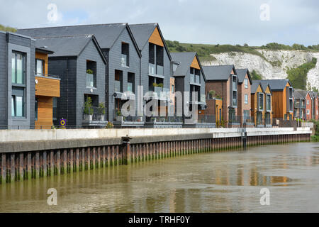 Chandlers Wharf, New waterfront homes in Lewes, East Sussex, UK - Stock Image