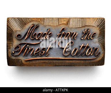 Zinc and Wood Printing Block Plate digitally laterally rotated to show Made from the Finest Cotton - Stock Image