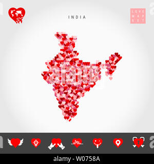 I Love India. Red and Pink Hearts Pattern Map of India Isolated on Grey Background. Love Icon Set. - Stock Image