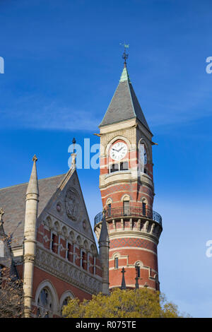 The beautiful architecture of Jefferson Market Library photographed on an equally beautiful winter day in New York City. - Stock Image