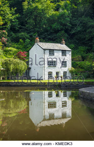 Wharfinger's Cottage at Llanfoist Wharf on the  Monmouthshire and Brecon Canal at Llanfoist, Monmouthshire, Wales, - Stock Image