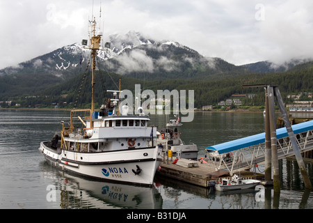 NOAA research vessel in the harbour of Juneau - Stock Image