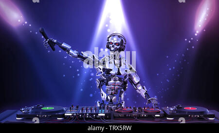 DJ Robot, disc jockey cyborg holding microphone and playing music on turntables, android on stage with deejay audio equipment, 3D rendering - Stock Image