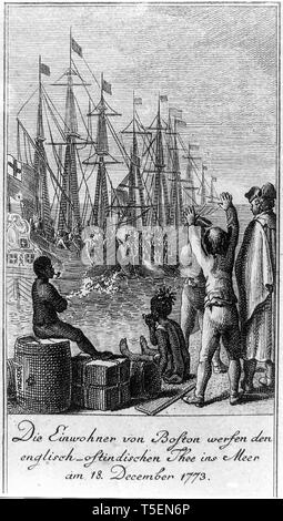 The residents of Boston throw English East India Company tea into sea on December 16th 1773, Boston Tea Party - Stock Image
