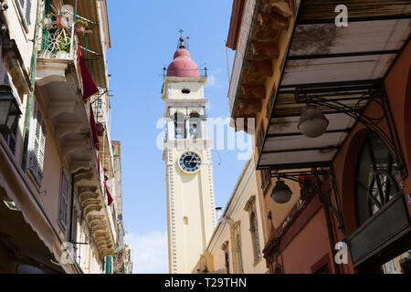 Bell Tower of the Saint Spyridon Church, Kerkyra, Corfu island, Greece. - Stock Image