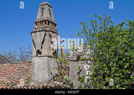 Magnificent Decorative Gas Fireplaces On Dilapidated And Abandoned Houses In The Small Village Krsan In Istria - Stock Image