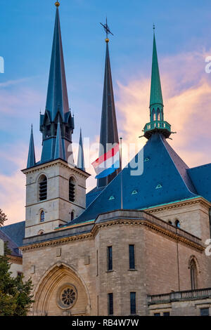 Facade of the Cathedral of Notre-Dame, Luxembourg, Luxembourg City - Stock Image