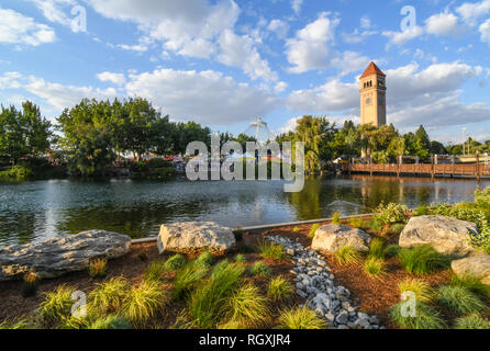 Spokane, Washington - September 1 2018: Festival goers enjoy the annual Pig out in the Park at the Riverfront Park along the Spokane River in Spokane, - Stock Image