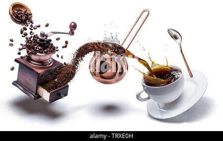 Coffee preparation. Conceptual photo - turning coffee beans into beverage. - Stock Image