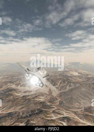 Spaceship Flying over a Snowy Mountain Landscape - Stock Image