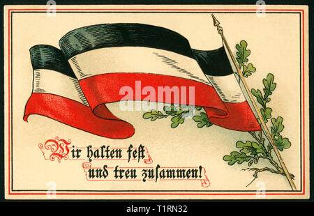Germany, Hamburg, Altona, WW I, propaganda postcard with black-white-red flag and laural with the text ' Wir halten treu und fest zusammen !' ( we stick together firmly and faithfully), sent 29. 09. 1915. , Additional-Rights-Clearance-Info-Not-Available - Stock Image