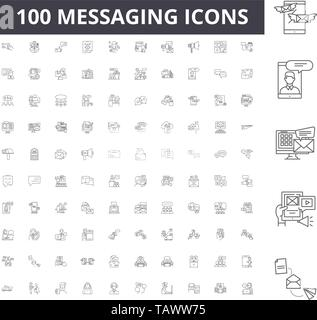Messaging line icons, signs, vector set, outline illustration concept  - Stock Image