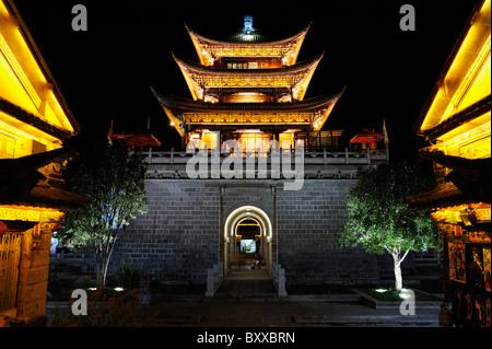 Floodlit pavillion, Dali, China - Stock Image