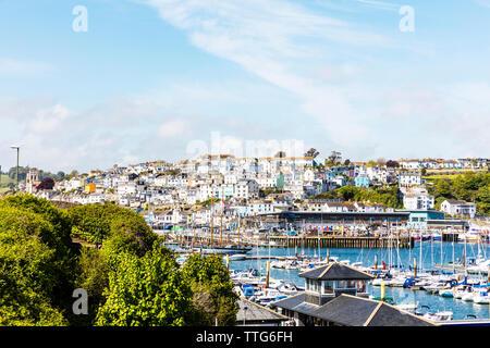 Brixham Town, Brixham Marina, Brixham, Devon, UK, England, United Kingdom, Brixham Devon, marina, town, boats, Brixham boats, houses, homes, - Stock Image