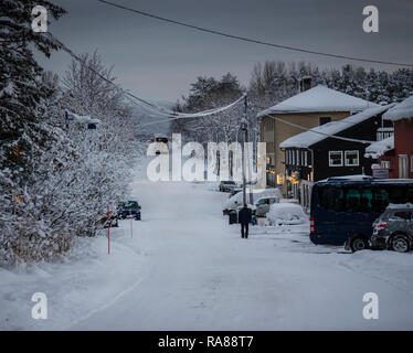 Heavy snow fall at Finnsnes, Norway. - Stock Image