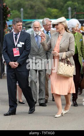 Princess Michael of Kent (front, right) and her husband Prince Michael of Kent (centre) arrive at the RHS Chelsea Flower Show at the Royal Hospital Chelsea, London. - Stock Image