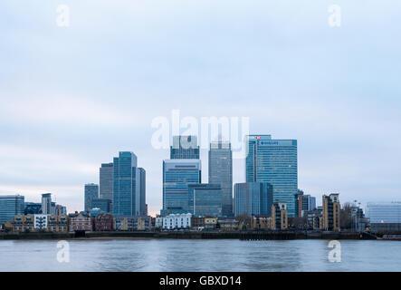 Canary Wharf skyline, London, England - Stock Image