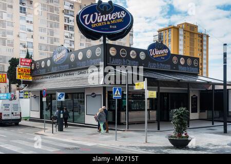 Benidorm New Town, Costa Blanca, Spain. Pedestrianised food street, Winners Bar - Stock Image