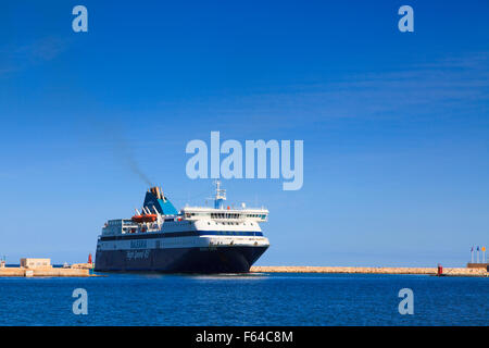 Balearia High Speed 45 Balearic Islands ferry entering port at Denia In Spain - Stock Image