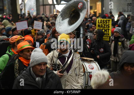 Vienna, Austria. 13th Jan, 2018. musician take part in a demonstration opposing the Austrian governmernt. Credit: - Stock Image