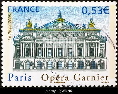 Paris Opera Garnier on french postage stamp - Stock Image