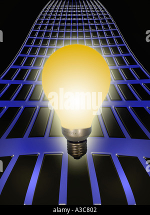 Light bulb on a power grid - Stock Image
