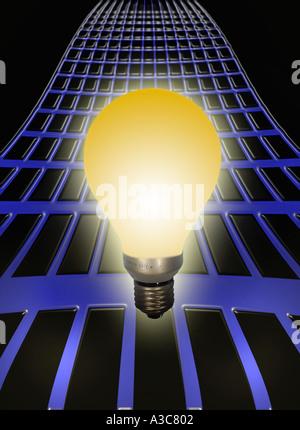 Light bulb on a power grid - Stock Image