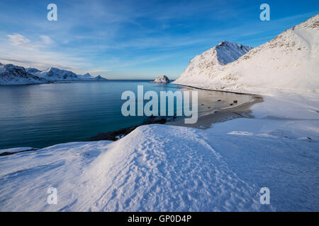 Winter view over Haukland beach, Vestvågøy, Lofoten Islands, Norway - Stock Image