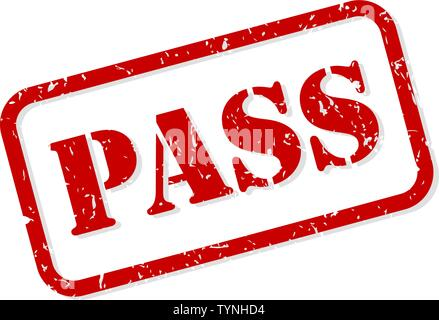 Pass red rubber stamp vector isolated - Stock Image