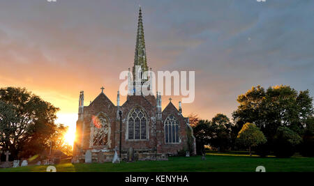 All Saints' Church Braunston, Northamptonshire, UK. 22nd October, 2017. UK Weather: sunset at the Cathedral - Stock Image