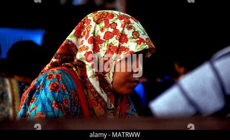 An indigenous Bajau woman at the Kota Belud market in Sabah, Malaysia. - Stock Image