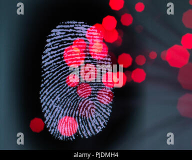 Data infecting a finger print identity on a screen to illustrate hacking and cyber crime - Stock Image