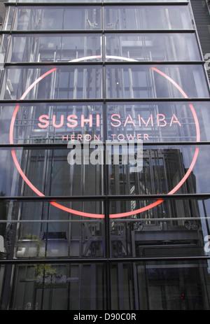 Sushi Samba restaurant at Heron Tower London - Stock Image