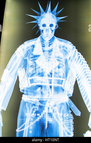 Full body xray x ray photo scan scanner photograph punk skeleton photo - Stock Image