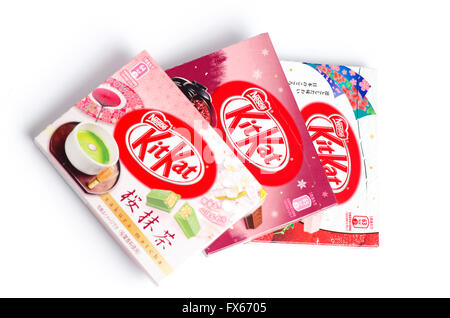 Variety of boxed flavours of Kitkat from Japan. Sakura matcha, red bean and wa-ichigo (strawberry). - Stock Image