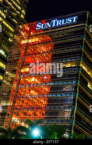 Red reflections at night in the facade of the SunTrust Bank building on Brickell Avenue in downtown Miami, Florida, - Stock Image