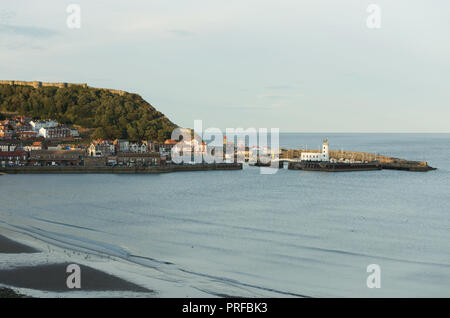 Scarborough Castle, harbour and lighthouse. unsharpened - Stock Image