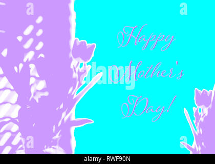 Happy Mothers Day Mother's Day design of rough ripped torn paper abstract tulips in purple violet aqua turquoise background or web banner - Stock Image