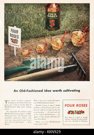 1943 U.S. Magazine Four Roses Whiskey Advert - Stock Image