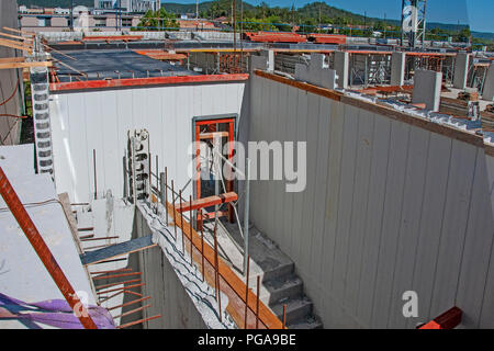 Gosford, New South Wales, Australia - January 7. 2018: Construction and building progress update 64. on new home units building site at 47 Beane St. - Stock Image