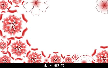Brochure design, vector abstract background with beautiful colored flower pattern - Stock Image