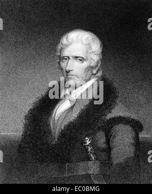 Daniel Boone (1734-1820) on engraving from 1835. American pioneer, explorer, and frontiersman. - Stock Image