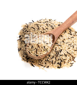 Wild  brown basmati rice isolated on white - Stock Image