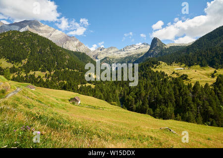 Bordas near Transpirenaica GR-11 footpath with Posets massif at the background in Viadós (Chistau valley, Sobrarbe, Huesca, Pyrenees, Aragon, Spain) - Stock Image